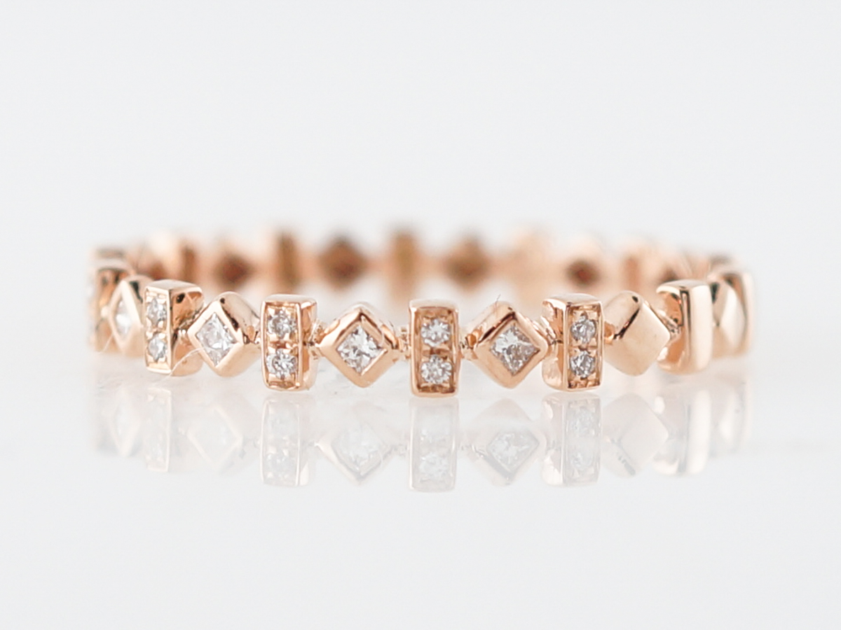 Wedding Band Modern .03 Round Brilliant & Princess Cut Diamonds in 18k Rose Gold
