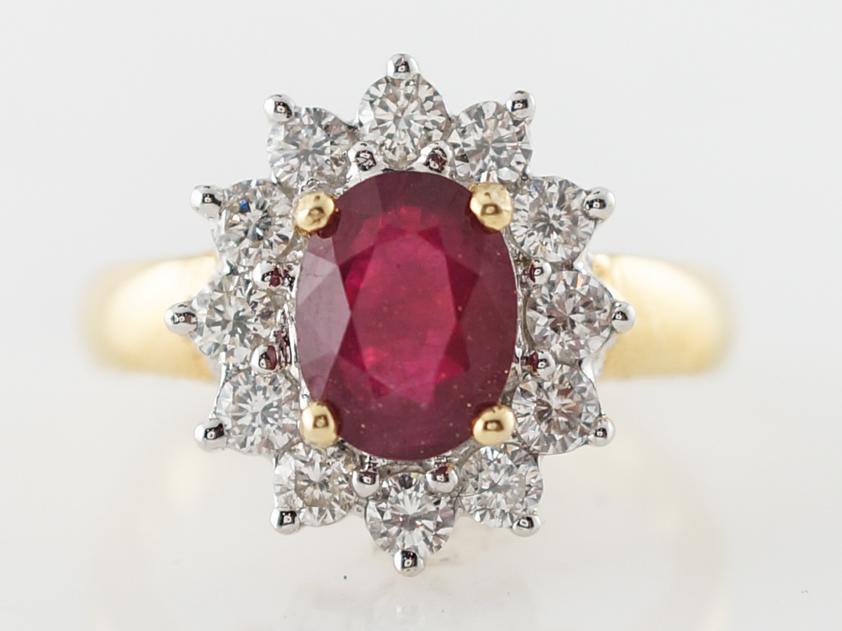 Right Hand Ring Modern 1.51 Oval Cut Ruby & .72 Round Brilliant Cut Diamond in 18k Yellow Gold