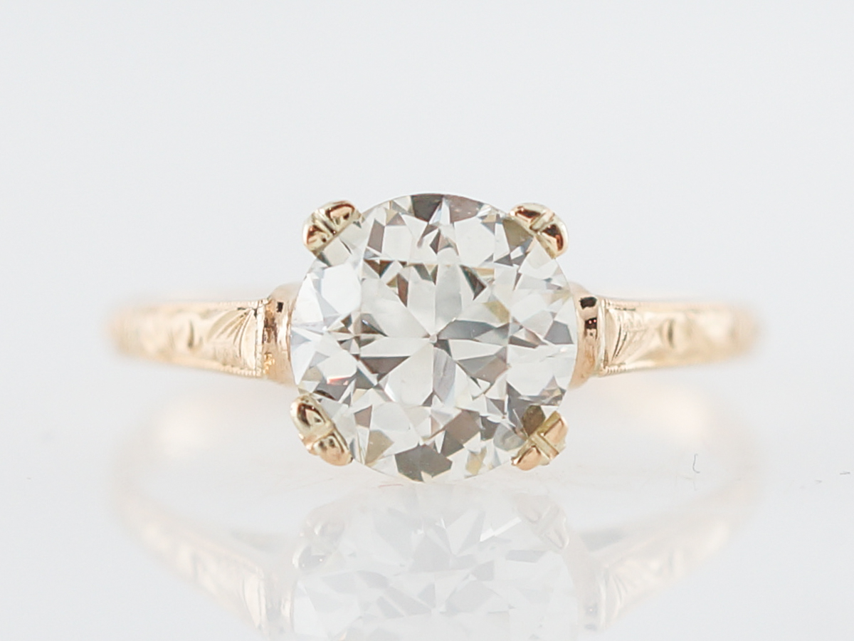 Antique Engagement Ring Art Deco GIA 1.45 Old European Cut Diamond in 18k Yellow Gold