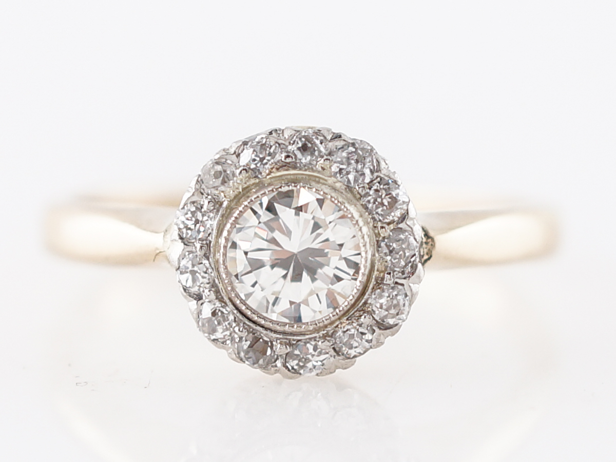 Bezel Set Victorian Diamond Cluster Ring in Yellow Gold