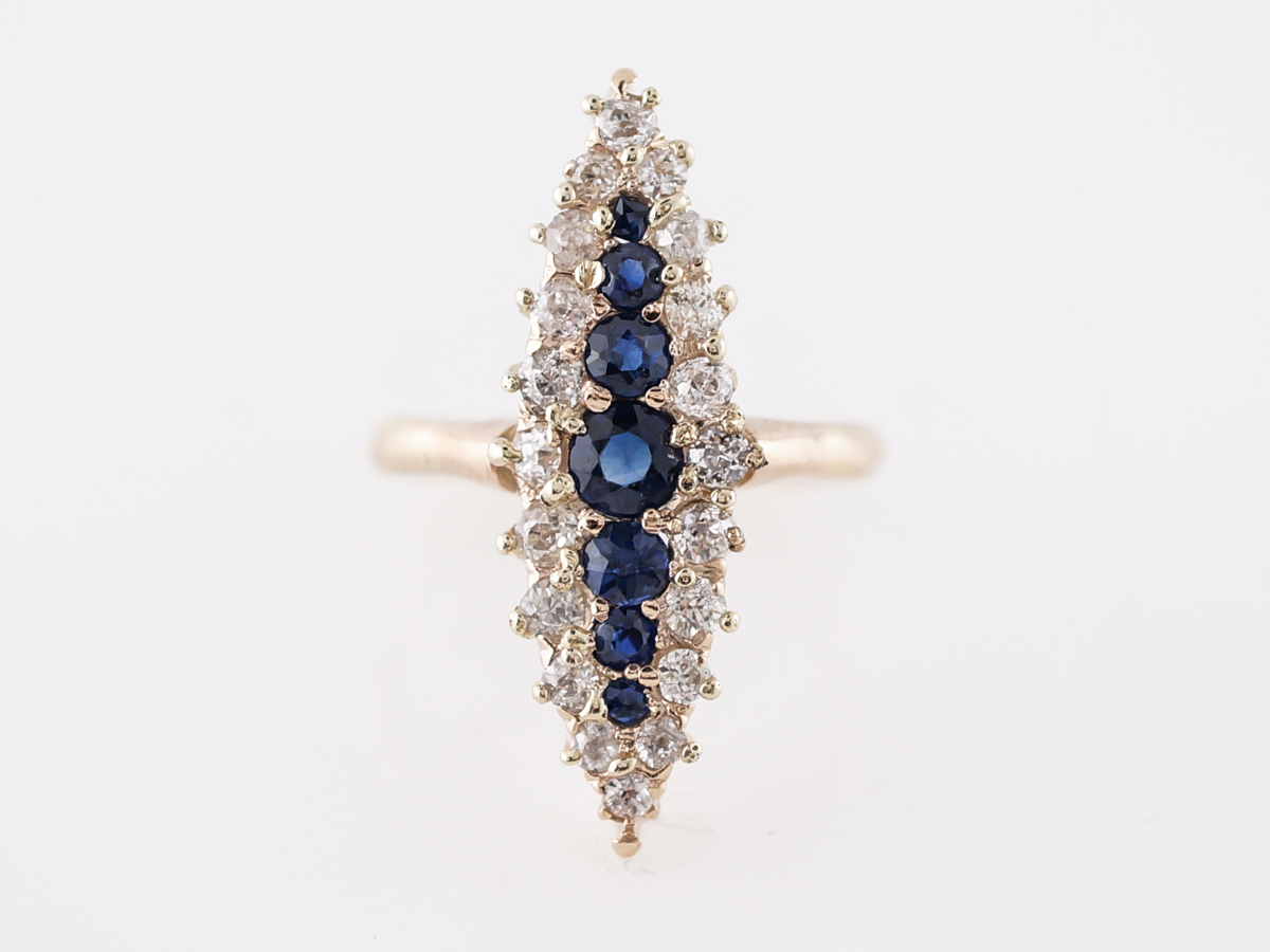Antique Right Hand Ring Victorian .60 Old Mine Cut Diamond & Sapphires in 14k Yellow Gold
