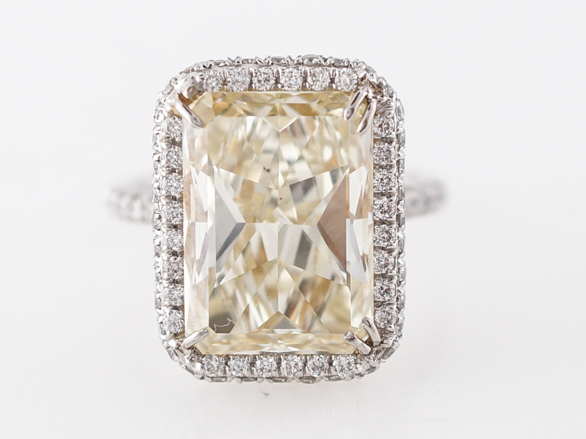 Cocktail Ring Modern 7.76 Radiant Cut Fancy Yellow Diamond in Platinum