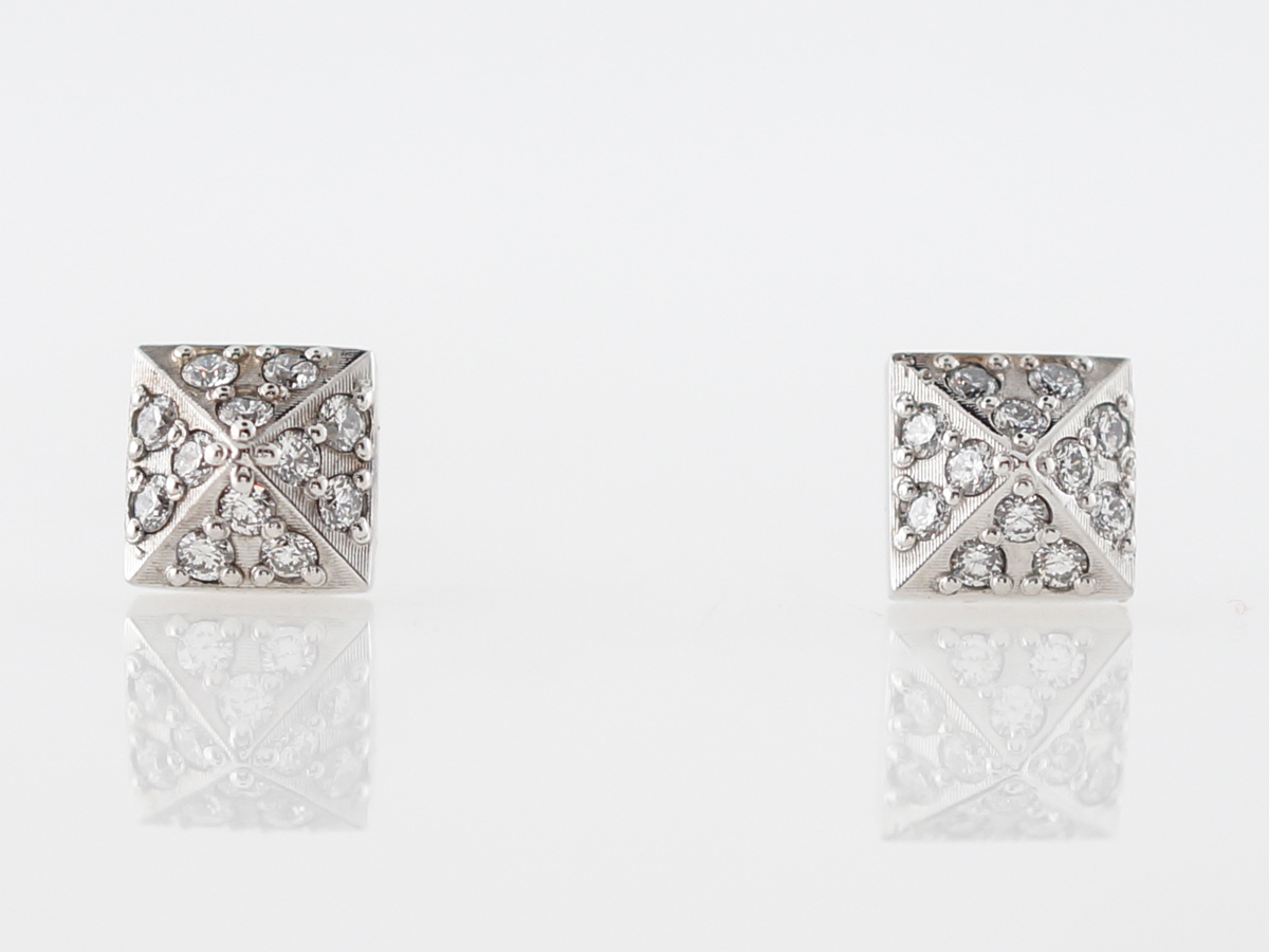 Modern Earrings Stud .24 Round Brilliant Cut Diamonds in 14k White Gold
