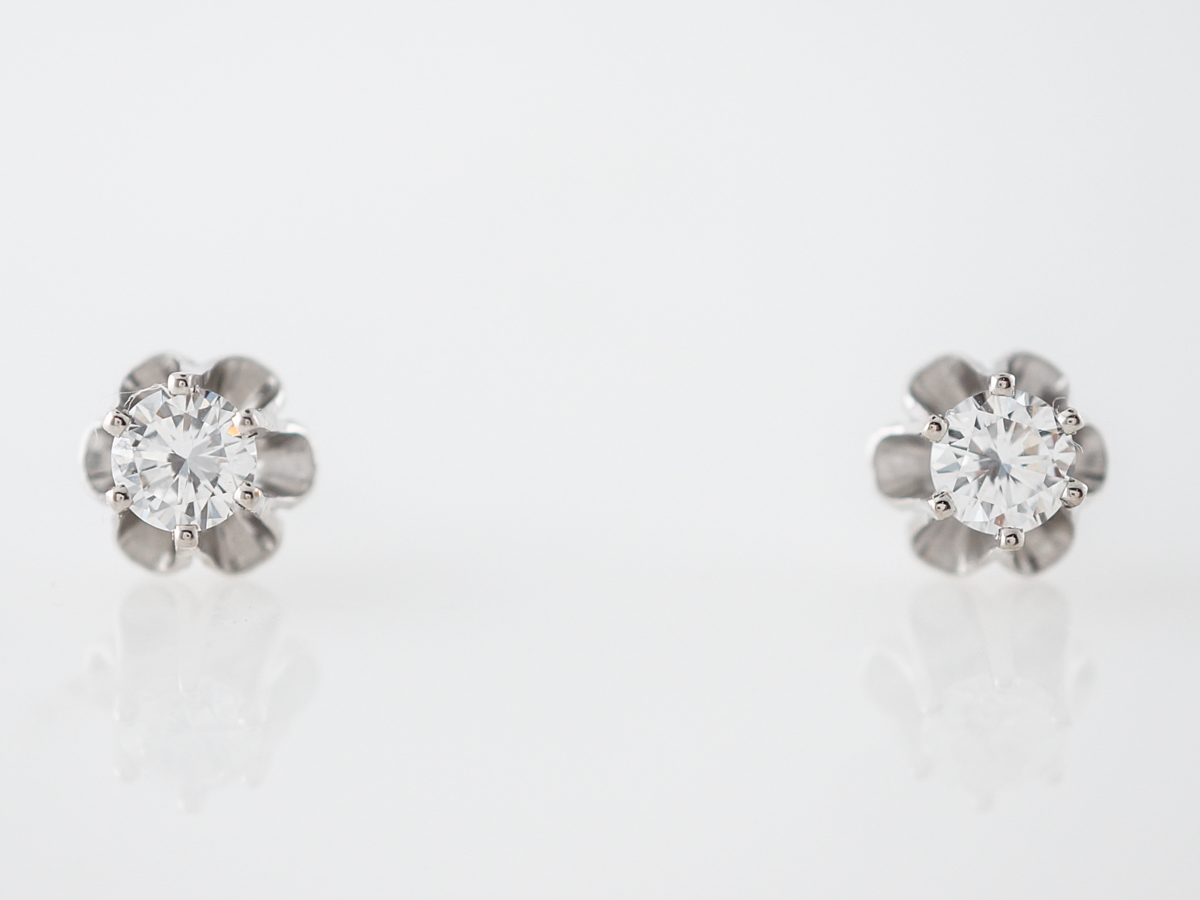 Vintage Earrings Mid-Century .63 Round Brilliant Cut Diamonds in 14k White Gold