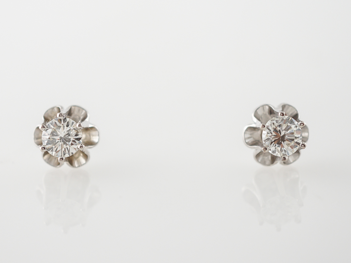 Vintage Earrings Mid-Century .83 Round Brilliant Cut Diamonds in 14k White Gold