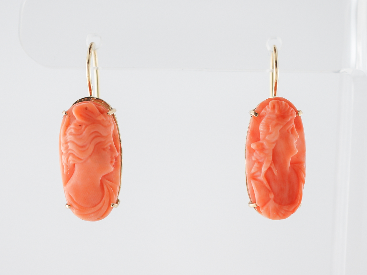 Vintage Earrings Victorian Carved Coral in 14k Yellow Gold