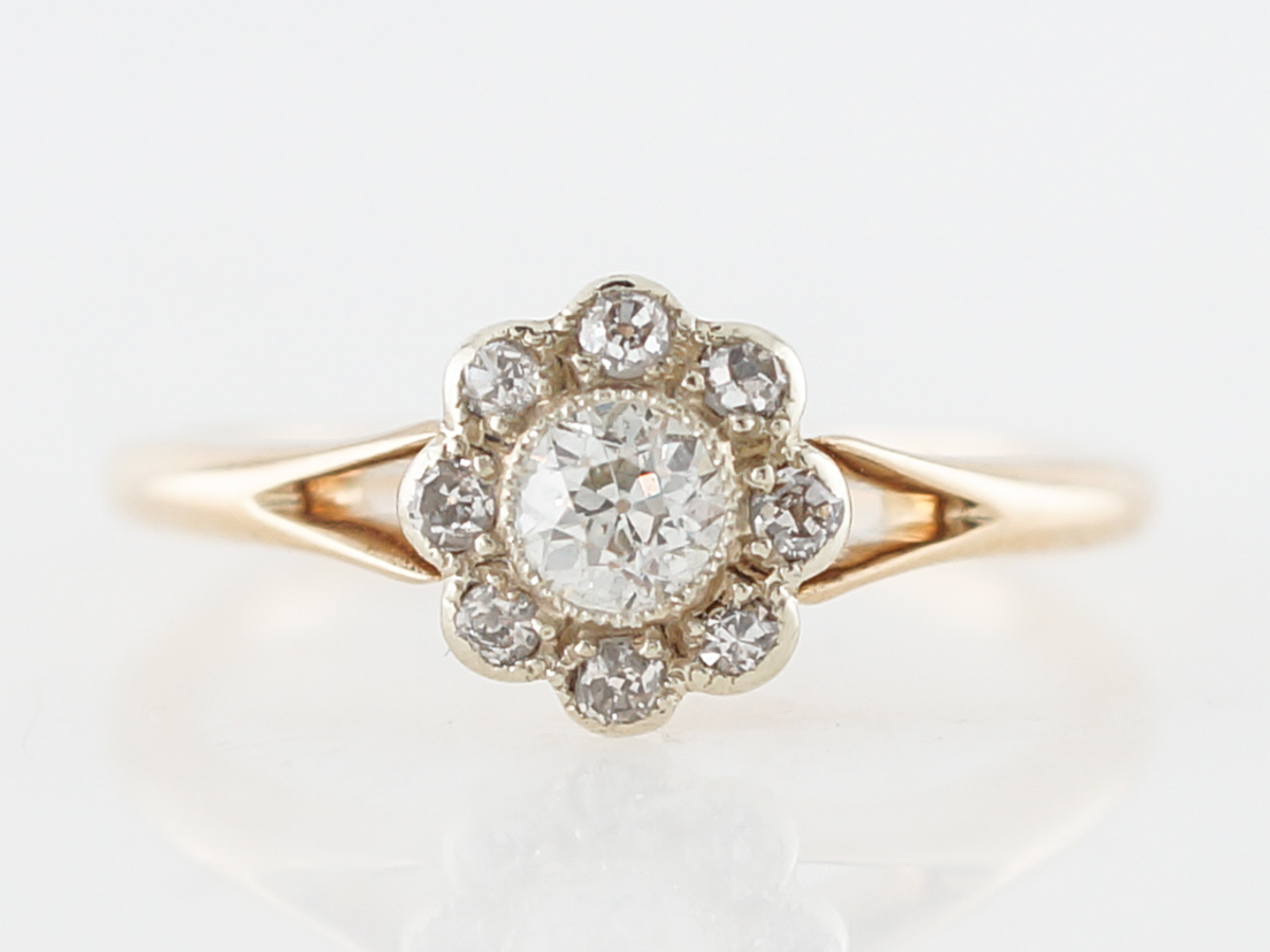 Vintage Engagement Ring Victorian .24 Old European Cut Diamond in 14k Yellow Gold