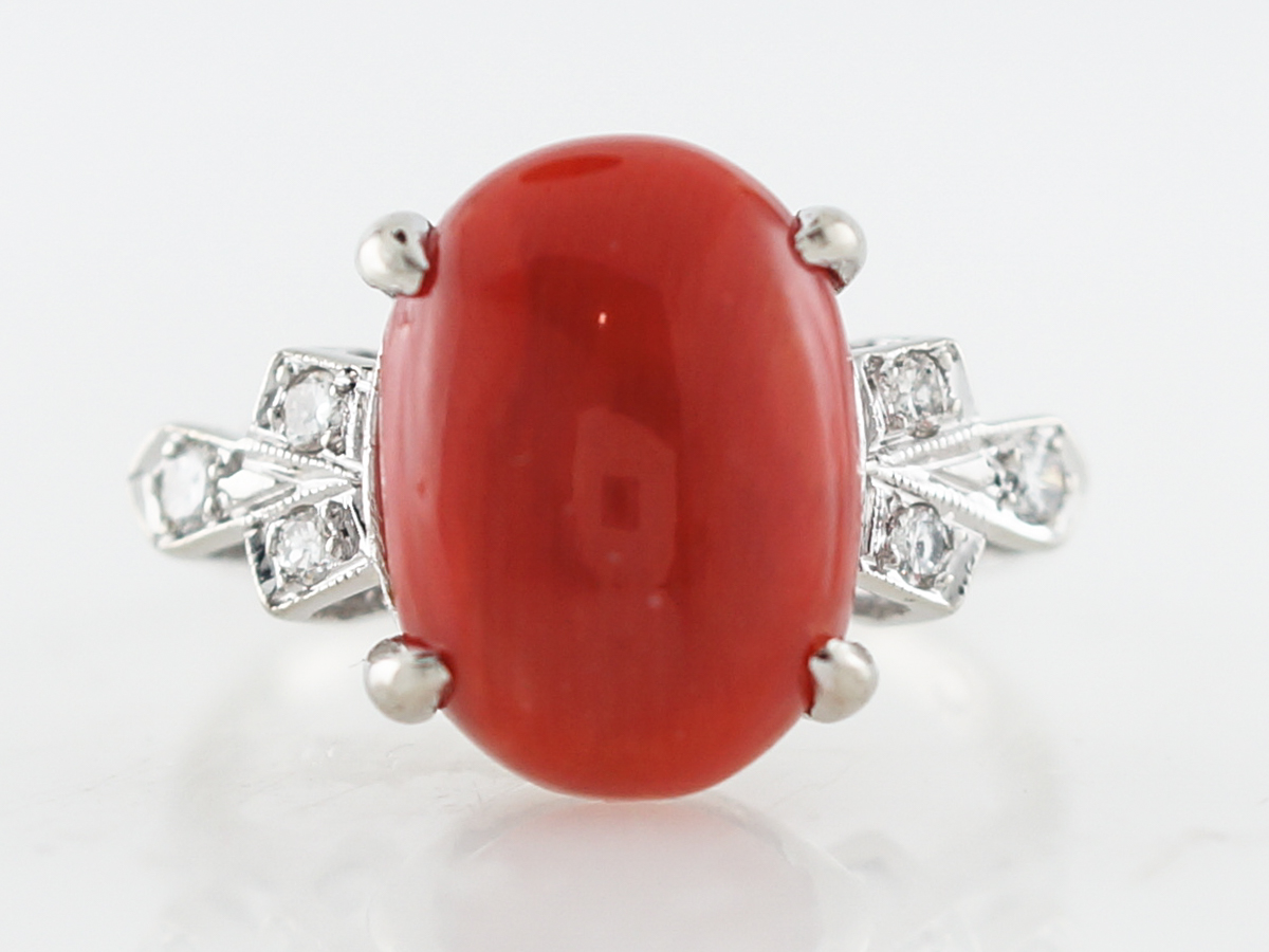 Vintage Right Hand Ring Mid-Century Cabochon Cut Coral & .18 Round Brilliant Cut Diamonds in 14k White Gold