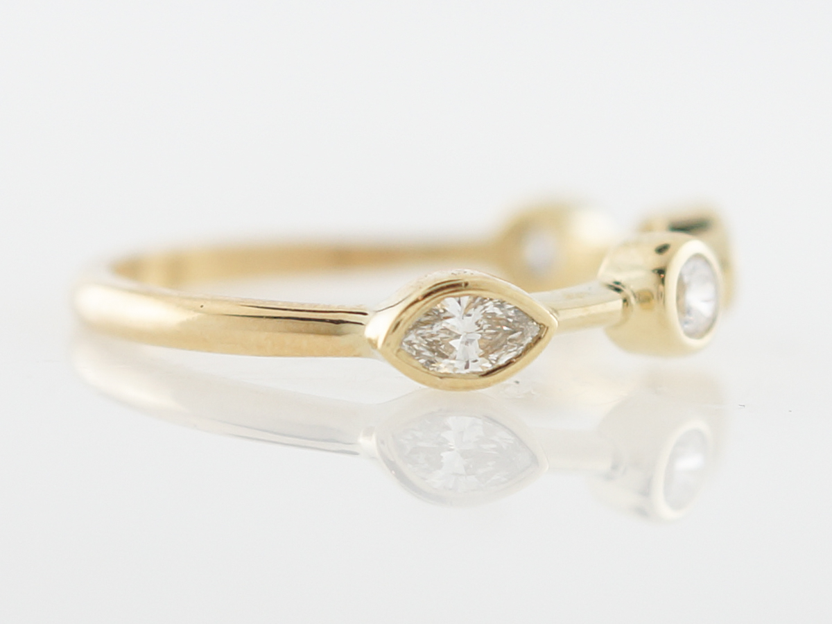 7cd681914 Right Hand Ring Modern .46 Marquise & Round Brilliant Cut Diamond in 18k  Yellow Gold