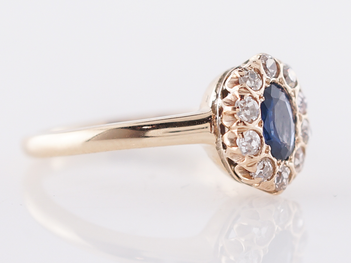 Vintage Engagement Ring Victorian 39 Oval Cut Sapphire In