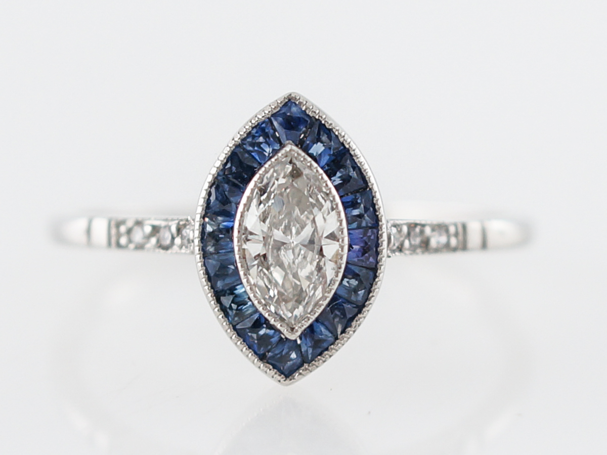 Marquis Diamond Engagement Ring W Sapphire Halo In Platinum