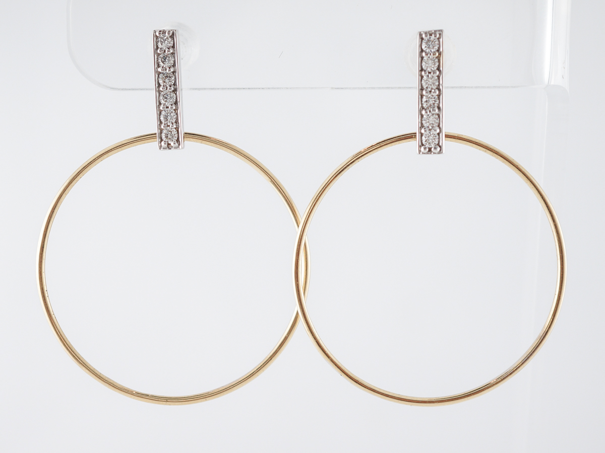 Hoop Earrings with Diamonds in White & Yellow Gold