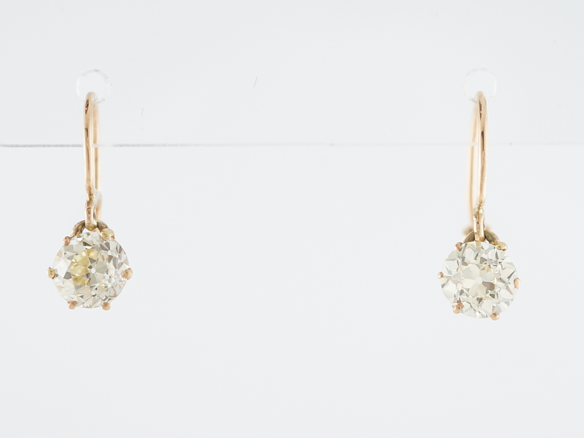 1.5 Carat European Cut Diamond Earrings in Yellow Gold