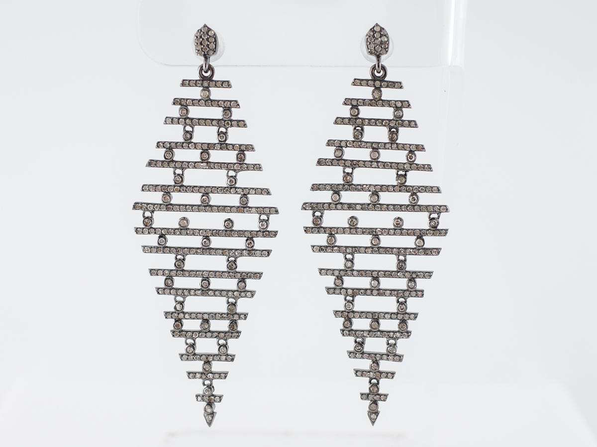 3 Carat Diamond Dangle Earrings in Sterling Silver