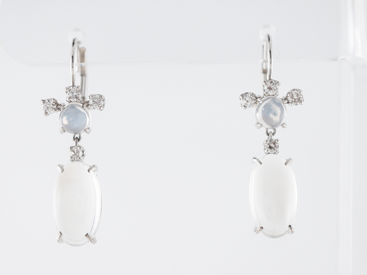 Cabochon Cut Moonstone Earrings in White Gold