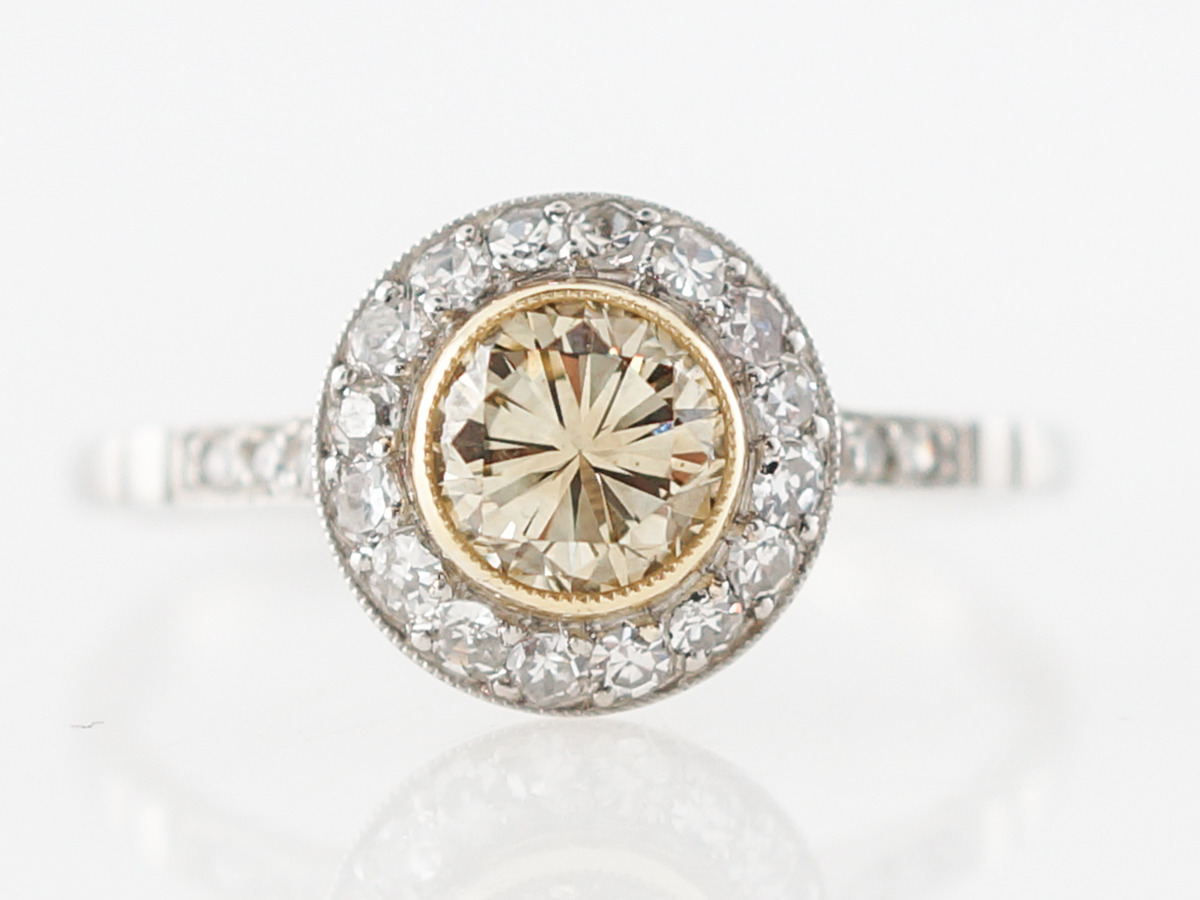 Fancy Yellow Diamond Halo Engagement Ring in 14k