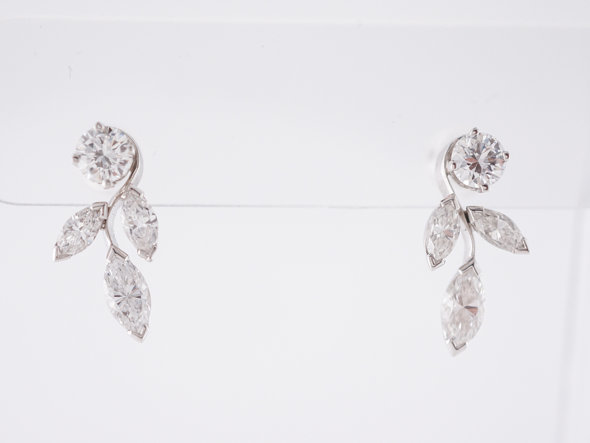 Floral Style Earrings w/ Marquis & Round Brilliant Cut Diamonds