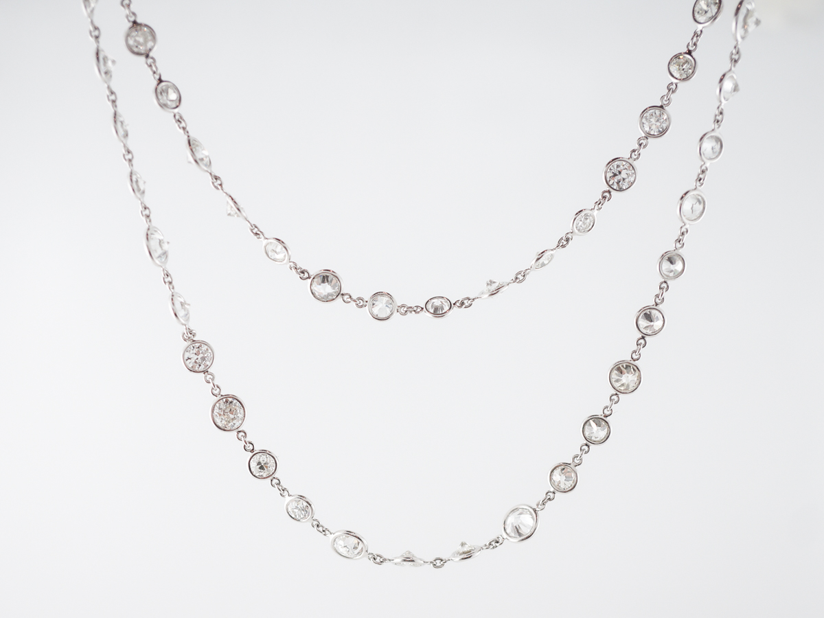 Necklace Modern 20.90 Round Brilliant Cut Diamonds in Platinum