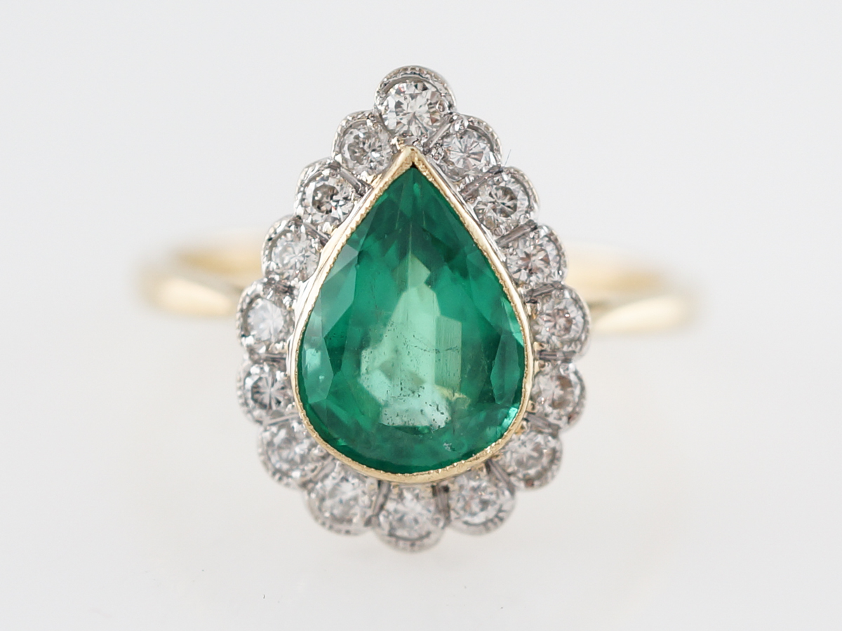 Right Hand Ring Modern 1.60 Pear Cut Emerald & .32 Round Brilliant Cut Diamonds in 18k Yellow Gold & Platinum