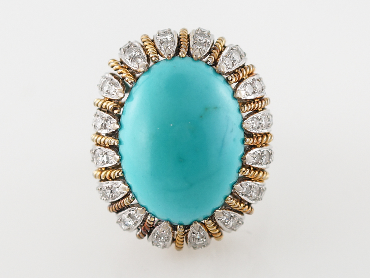 Vintage Cocktail Ring 11.50 Cabochon Cut Turquoise & 2.07 Round Brilliant Cut Diamonds in 18k Yellow & 14k White Gold