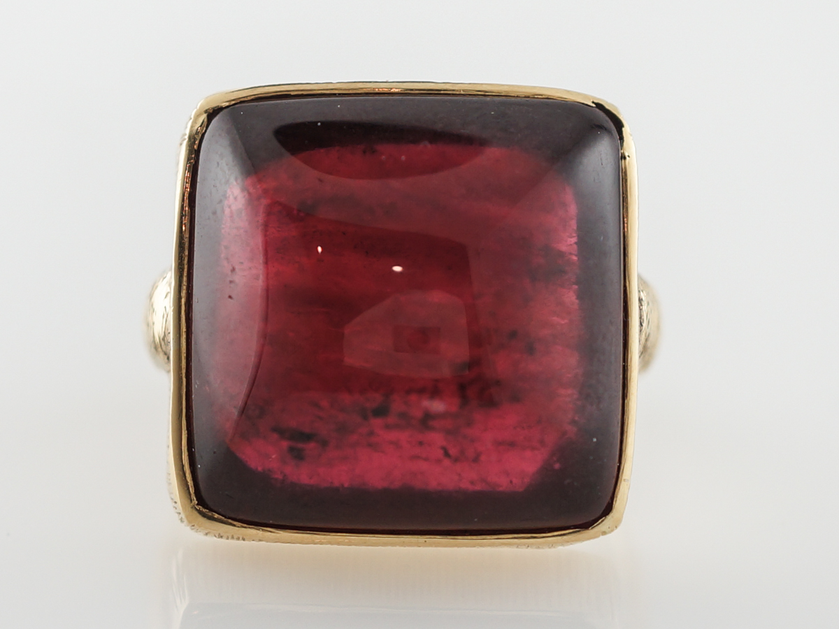 Vintage Rubelite Cocktail Ring in 18k Yellow Gold