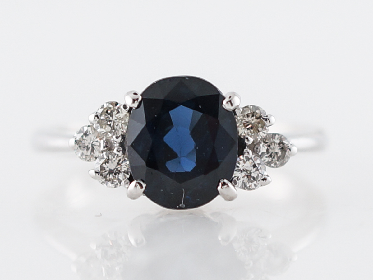 Vintage Engagement Ring Mid-Century 1.95 Oval Cut Sapphire & Diamonds in 14k White Gold
