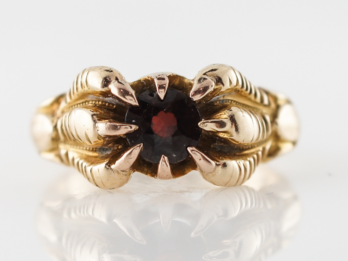 Victorian Ruby Crow Claw Ring in 14k Yellow Gold