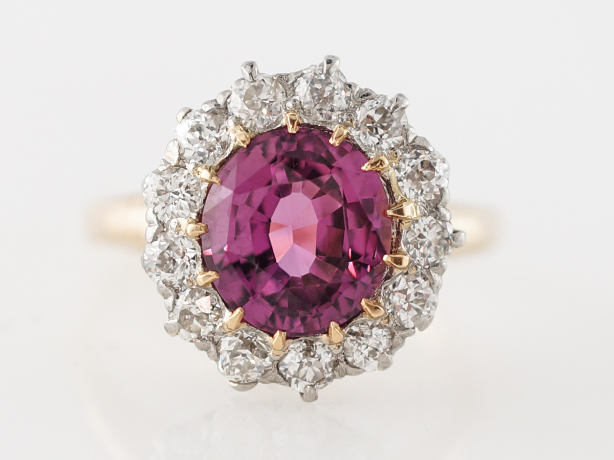 Vintage Edwardian Pink Sapphire & Diamond Cluster Engagement Ring