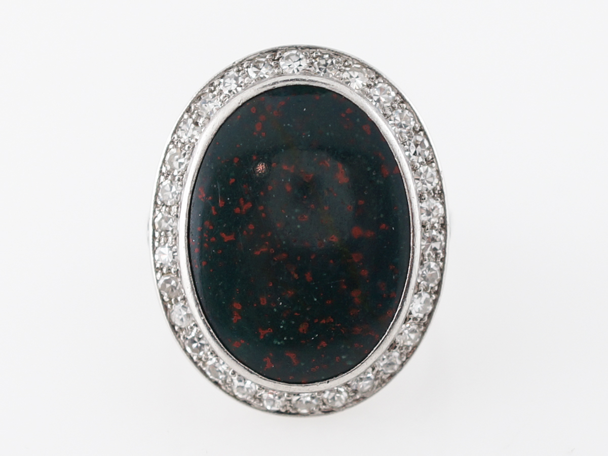 Vintage Bloodstone Cocktail Ring w/ Diamonds in Platinum