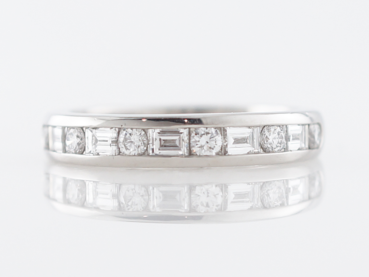 Wedding Band Modern Tiffany & Co .66 Round Brilliant & Baguette Cut Diamonds in Platinum