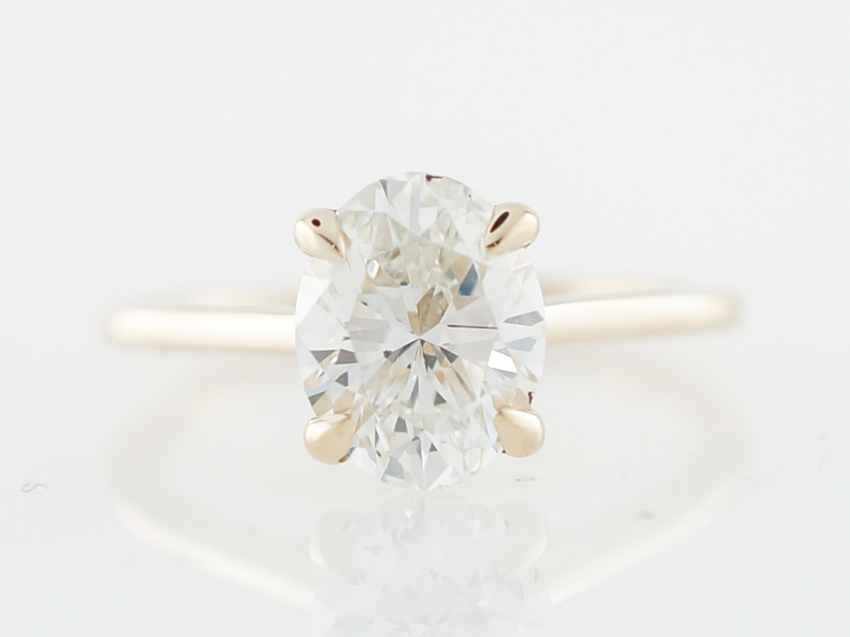 Engagement Ring Modern GIA 2.02 Oval Cut Diamond in 14k Yellow Gold