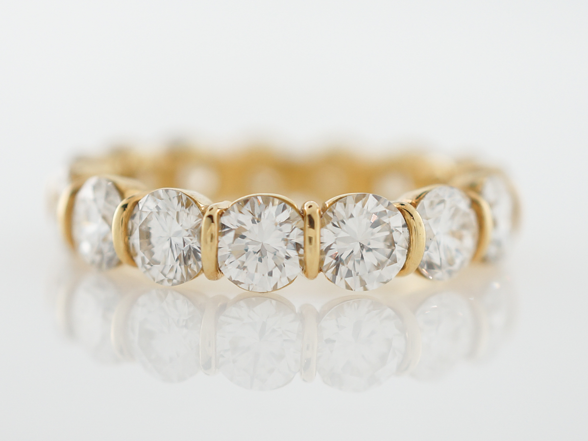 Eternity Band Modern 3.90 Round Brilliant Cut Diamond in 18k Yellow Gold