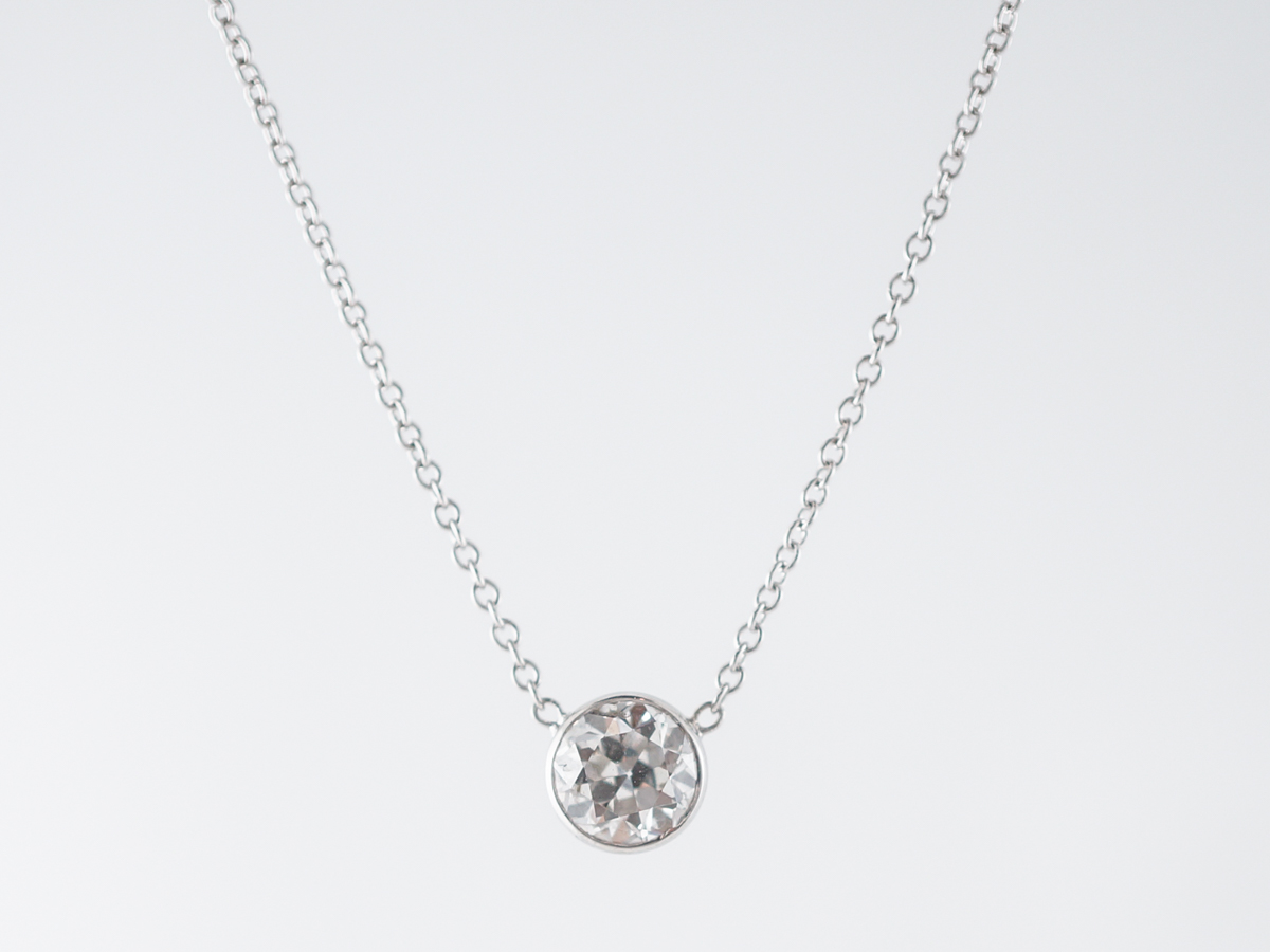 Half Carat Old European Diamond Necklace in 14k