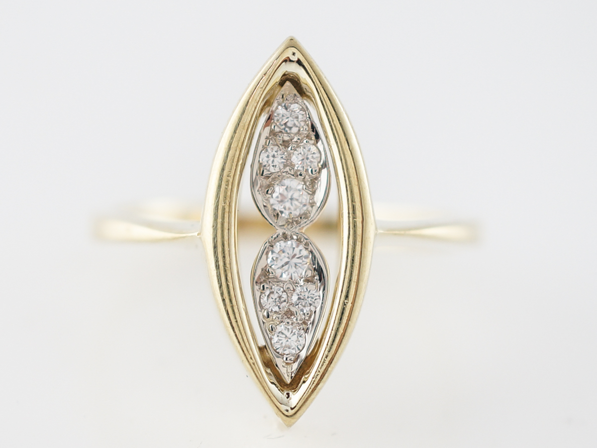 Right Hand Ring Modern .13 Round Brilliant Cut Diamonds in 18k Yellow Gold
