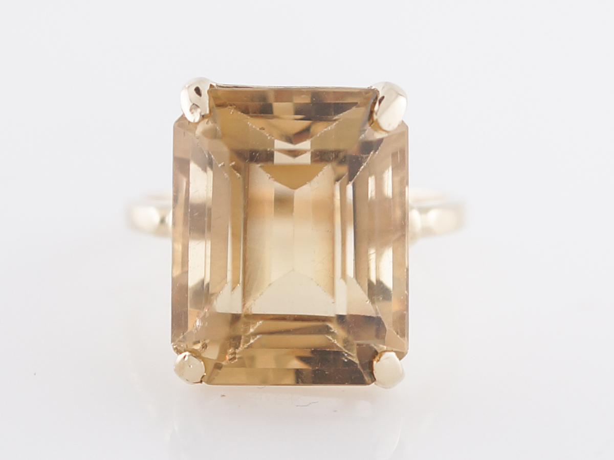 Vintage Cocktail Ring Mid Century 14.79 Emerald Cut Citrine in 14k Yellow Gold