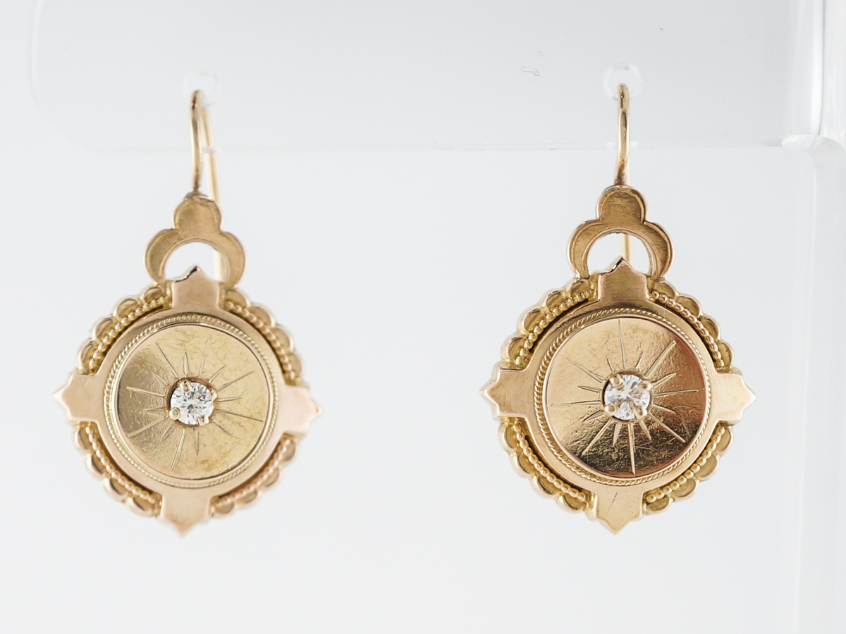 Vintage Earrings Victorian .26 Round Brilliant Cut Diamonds in 14k Yellow Gold