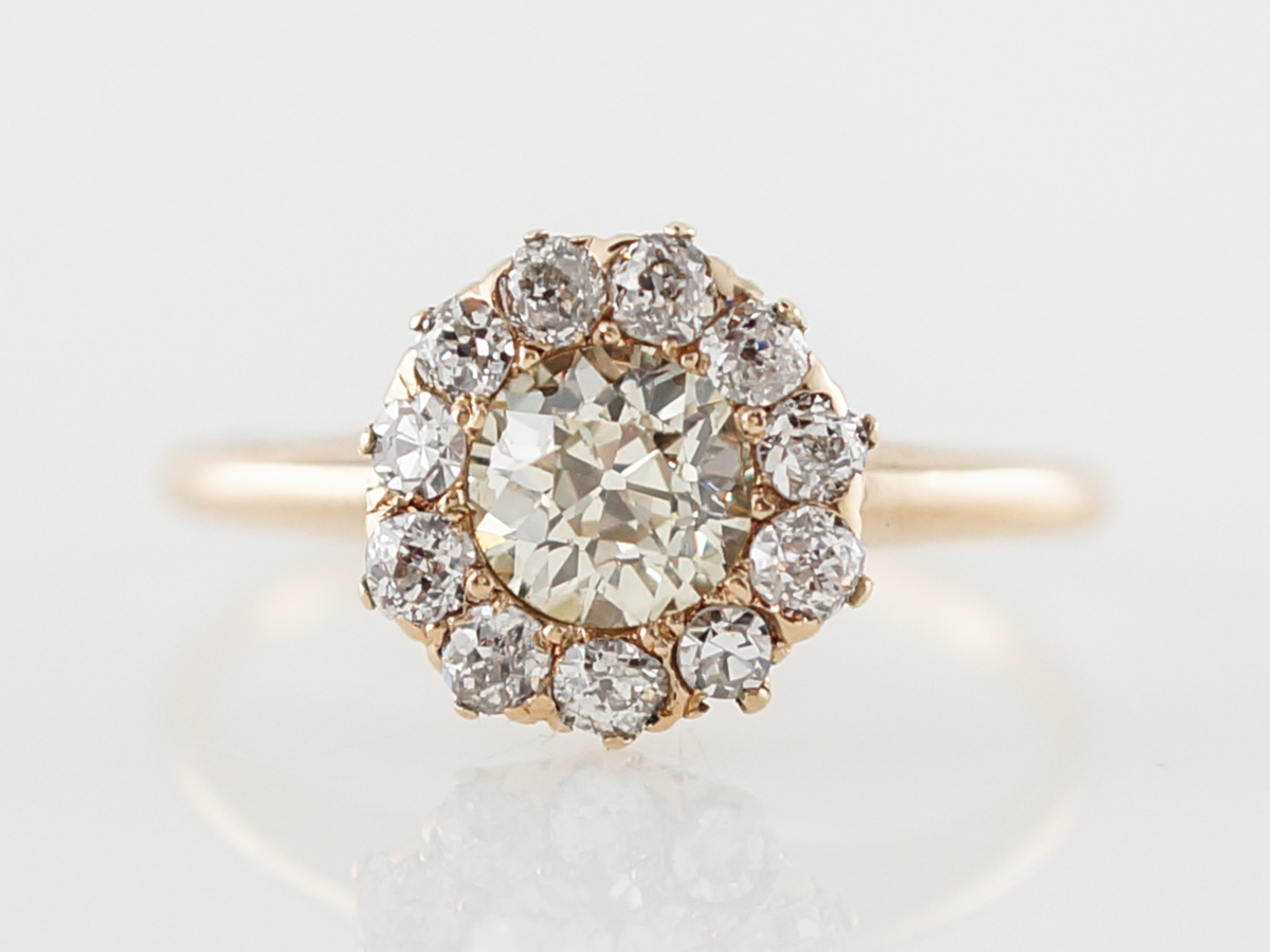 Vintage Victorian Diamond Cluster Engagement Ring in Yellow Gold