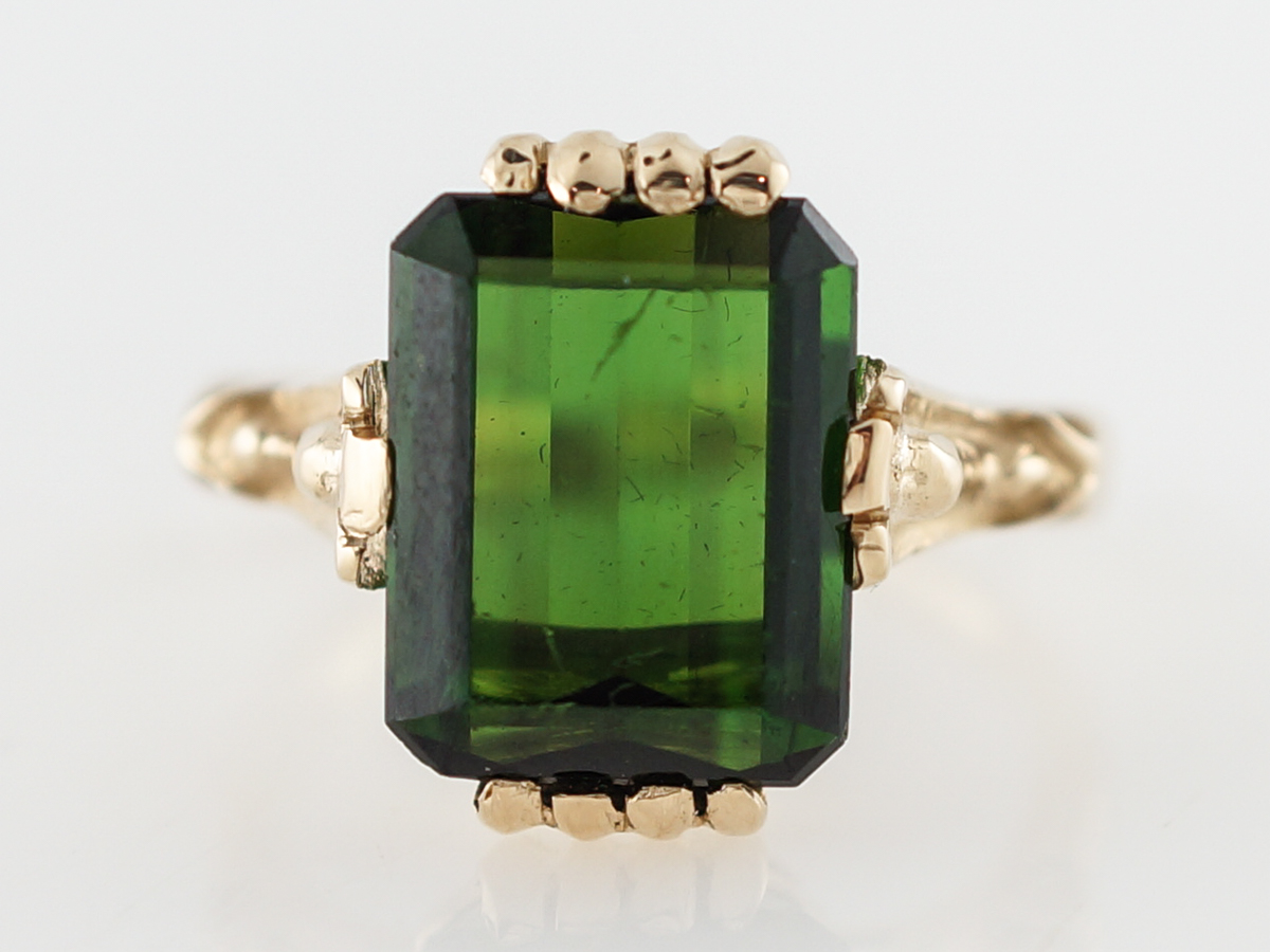 Vintage Right Hand Ring Mid Century 4.50 Emerald Cut Tourmaline in 14k Yellow Gold