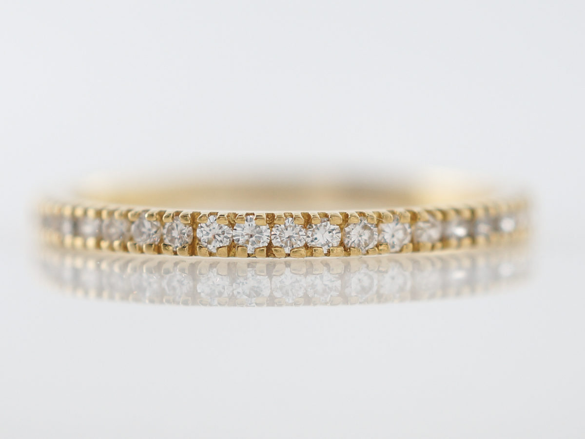 Wedding Band Modern .12 Round Brilliant Cut Diamonds in 18k Yellow Gold