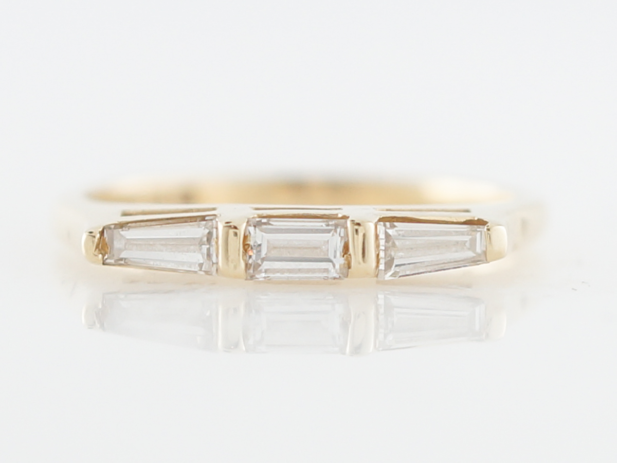 Wedding Band Modern .45 Tapered Baguettes in 14k Yellow Gold