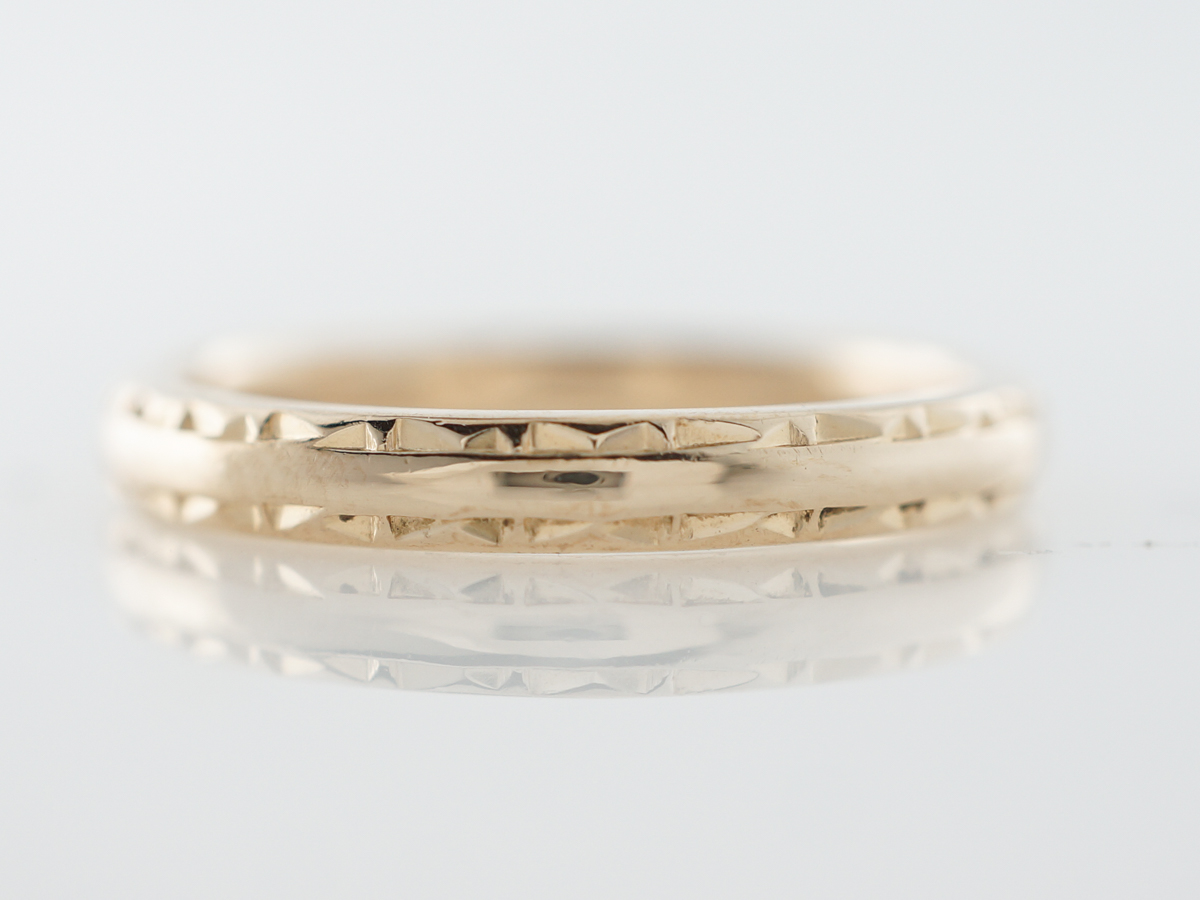 Antique Wedding Band Art Deco in 14k Yellow Gold