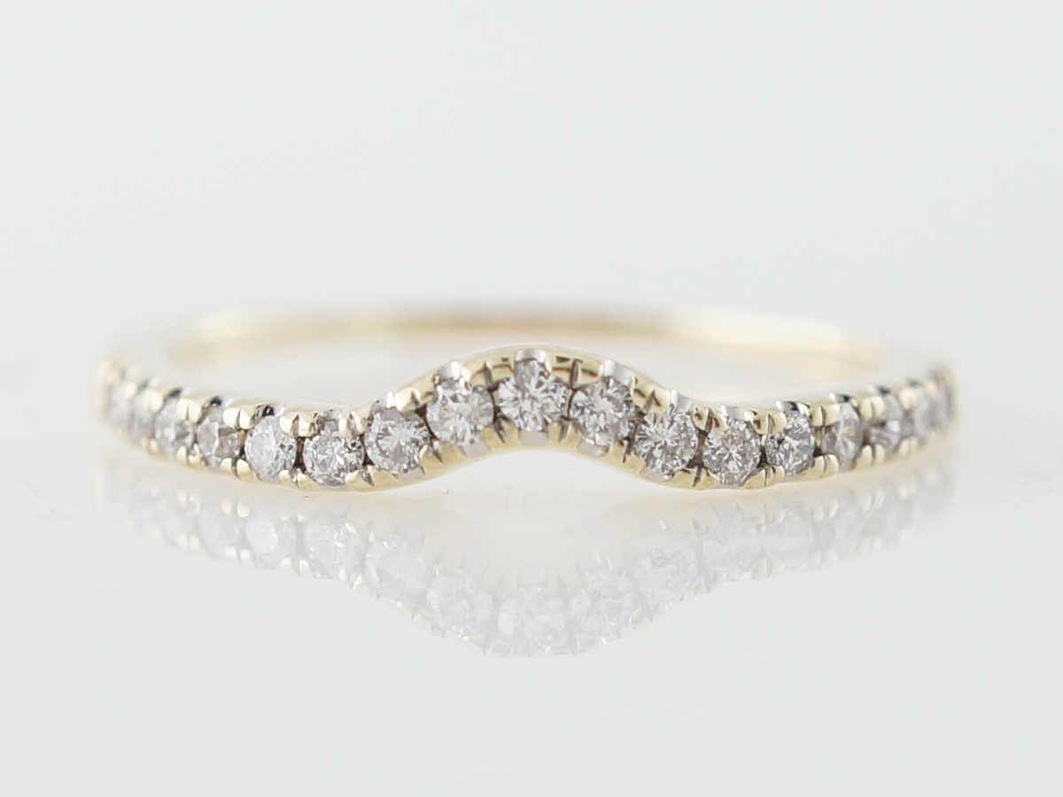 Curved Wedding Band .25 Round Brilliant Cut Diamonds in Yellow Gold