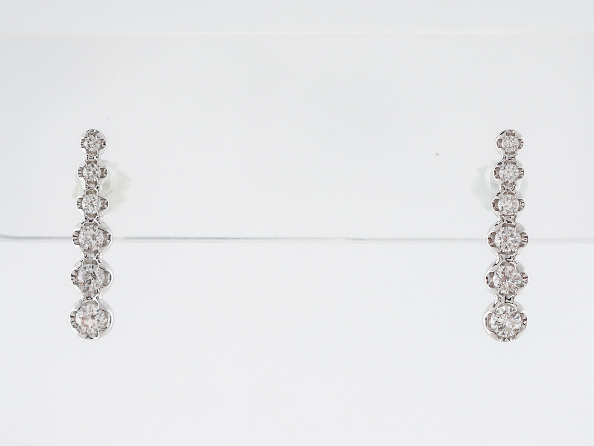 Earrings Modern .27 Round Brilliant Cut Diamonds in 18k White Gold