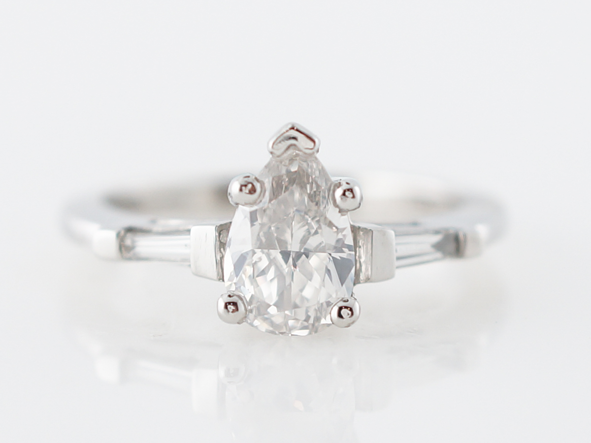 Engagement Ring Modern 1.05 Pear Cut Diamond in Platinum
