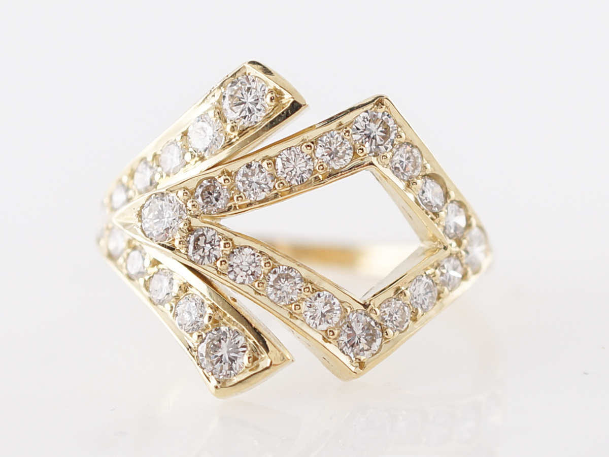 Right Hand Ring Modern .78 Round Brilliant Cut Diamonds in 18k Yellow Gold