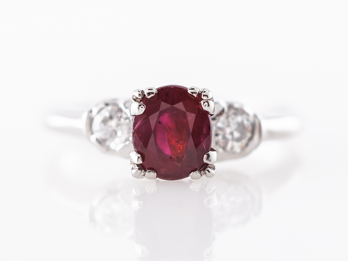 Vintage Art Deco Oval Cut Ruby Engagement Ring in Platinum