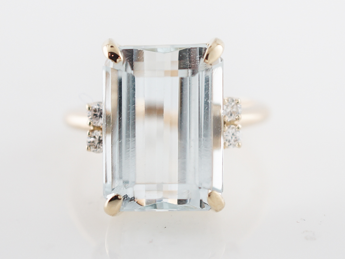 Vintage Cocktail Ring Mid-Century 7.90 Emerald Cut Aquamarine in 14k Yellow Gold
