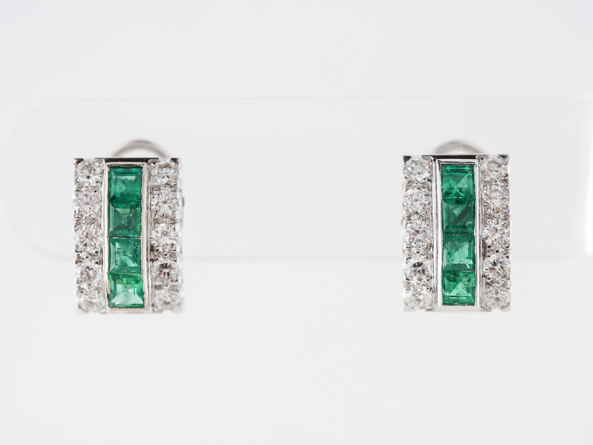 Vintage Earrings Mid-Century 1.00 Square Cut Emeralds & 1.50 Round Brilliant Cut Diamonds in 18k White Gold