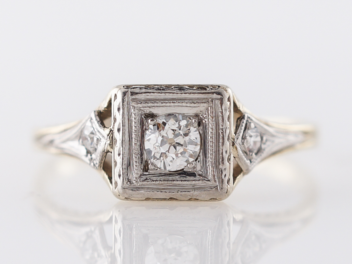Vintage Engagement Ring Art Deco .17 Old Mine Cut Diamond in 14k Yellow & White Gold