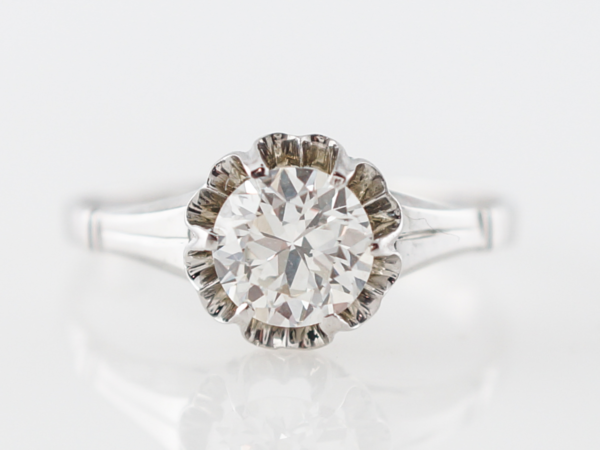 Vintage Engagement Ring Art Deco .84 Old European Cut Diamond in 18k White Gold
